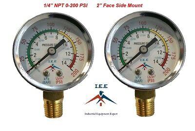 2 Air Compressor Pressurehydraulic Gauge 2 Face Side Mount 14 Npt 0-200 Psi