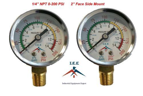 "2 Air Compressor Pressure/Hydraulic Gauge 2"" Face Side Mount 1/4"" NPT 0-200 PSI"