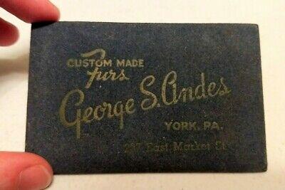 Vintage George S. Andes York PA Custom Made Furs Advertising Pocket Mirror