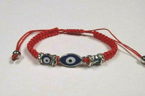 All-Seeing EVIL EYE Bracelet RED Silver Tone Rhinestone Accents Macrame Band