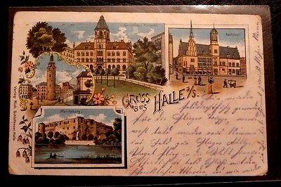 alte farbige Mehrbild Litho-AK, Gruss aus Halle a/S.,gel. 1916 Feldpost