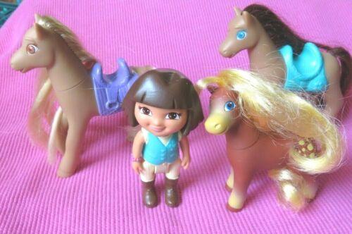 DORA THE EXPLORER WESTERN STABLE PONY HORSES Doll  dollhouse FIGURES LOT