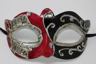 RED BLACK & SILVER MUSICAL NOTES/SCRIPT VENETIAN MASQUERADE PARTY BALL EYE MASK ](Masquerade Masks Red)