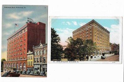 2 Vintage Postcards: Hotel Bethlehem, PA  EXC   Linen & Border Era