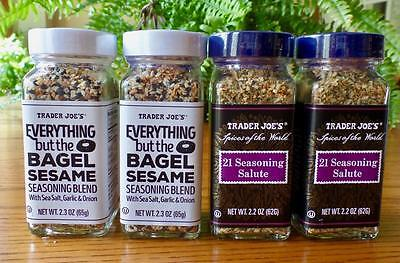 4 Jars Trader Joes Spice Everything But The Bagel Sesame   21 Seasoning Salute