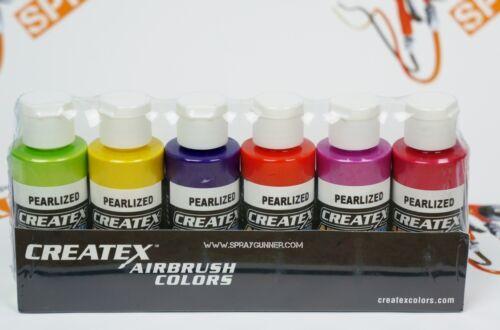 Createx Airbrush Colors Pearl Sampler Airbrush Paint Set Water Based 6 * 2oz