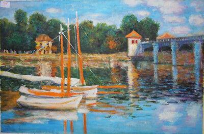 handgemalte Reproduktion d. Ölgemäldes, Monet, The Argenteuil Bridge, 60x80cm