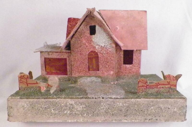 Vintage Christmas House Train Yard Putz Display Pink Mica Glitter Large #128