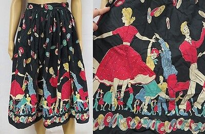 Vintage 50s Skirt Novelty Border Print Swing Dance Sock Hop Rock Roll Rockabilly