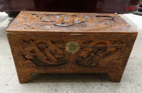 Vintage  Hand Carved Wood Chest Cedar Lined Asian Sail Boats