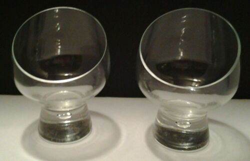 Set of 2 Clear Glass Nose Cutout  Brandy Snifters/Barware Glasses-Bubble in Stem