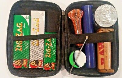 """Traveler"" Smoking Kit Silver Eagle Grinder, RAW Rolling Machine & Zig Zag Paper"