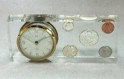 Vintage 1964 Elgin Desk Alarm Clock Silver Coin Set in Lucite