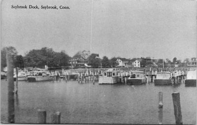 Connecticut Postcard Saybrook Dock Saybrook Conn CT Old Boats Houses in Distance