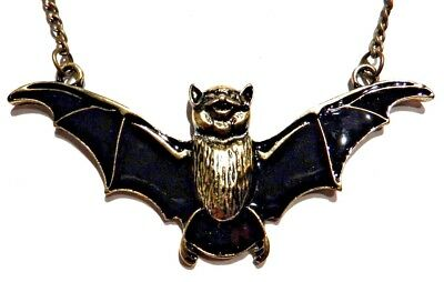 VAMPIRE BAT NECKLACE black brass gold enamel wings cute gothic goth pendant C3