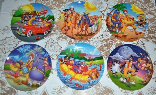 """6x Vtg Ronald McDonald Plates 9"""" Plastic McDonald"""