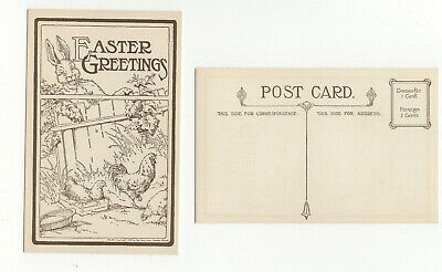 2 Old Easter Greeting Postcards 1909 Rabbit Chickens Unused