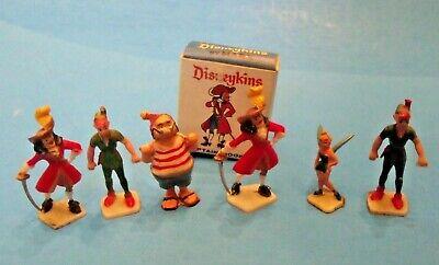 SET of of SIX Marx Disneykins, 1960's from PETER PAN, plus one box!