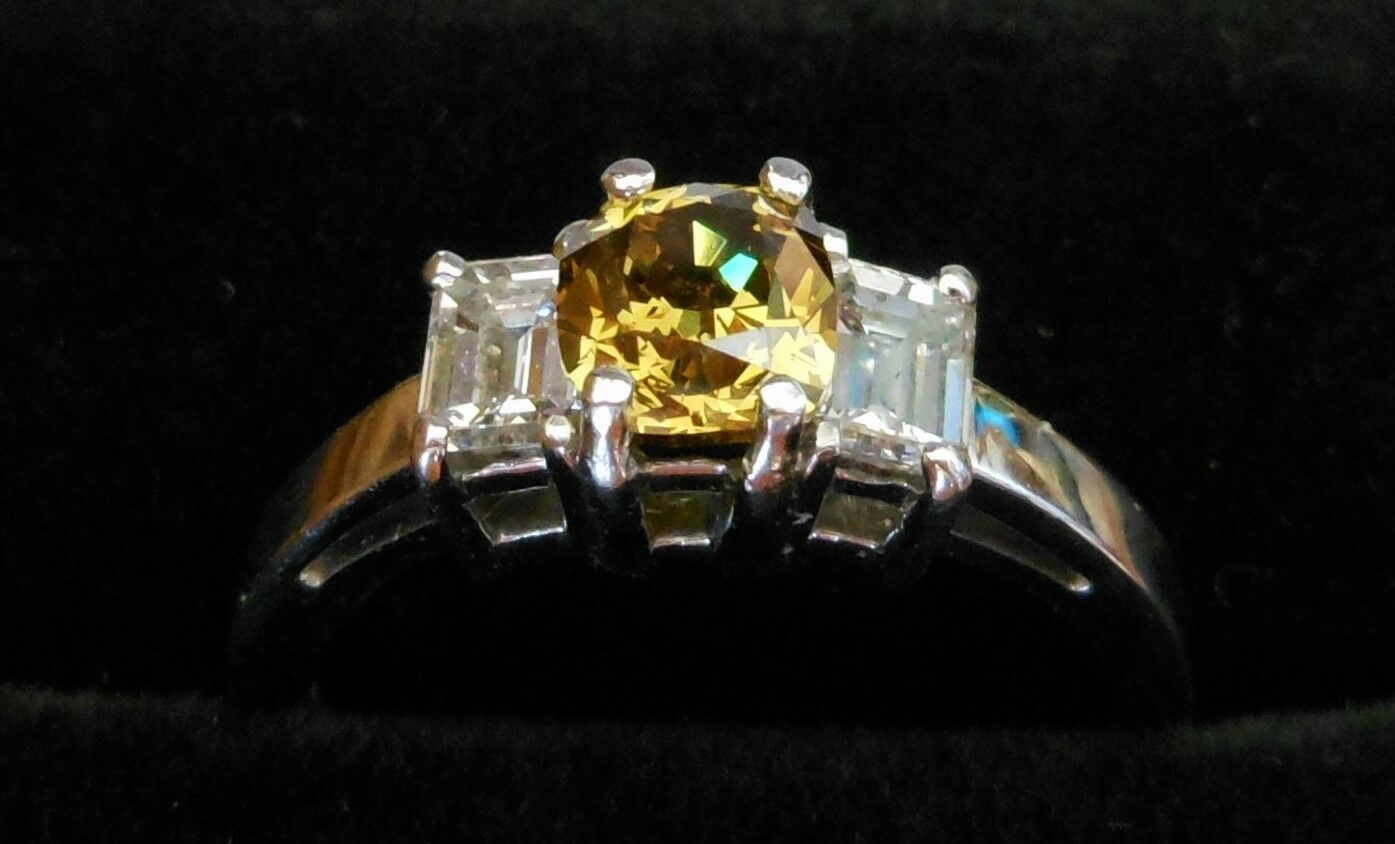 Cushion Fancy Green Yellow Brown Diamond Platinum Ring 1.51tcw GIA AIG Cert