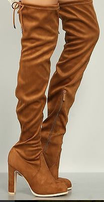 Thigh High Gogo Boots (Size 9 Camel GOGO-13L DBDK Women Faux Suede Suedette Thigh High Boots Sexy !)