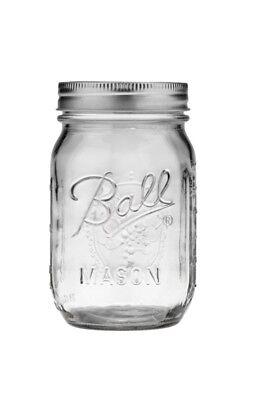 Ball Regular Mouth Clear Glass Mason 16oz Pint Canning Bulk 8 dozen 96 jars Set ()