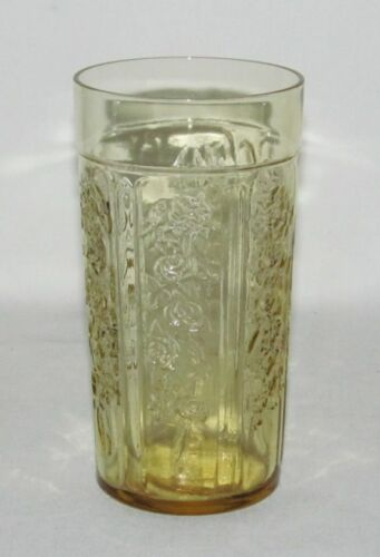 """Federal Glass Co. SHARON """"Cabbage Rose"""" Amber Thin Flat Iced Tea Tumbler"""