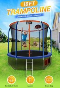 Genki 10ft round kids trampoline w/safety enclosure & basketball hoop