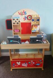 Child's wooden play shop complete with 2 tills