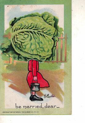 True Vintage valentine Postcard Raphael Tuck Series # 2 the garden patch 1907