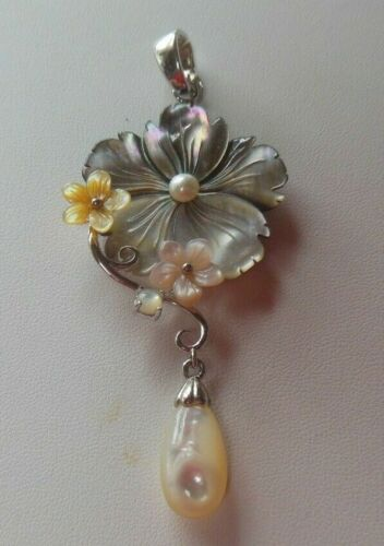Vintage Stamped SX 925 Sterling Silver MOP Shell floral Pendant