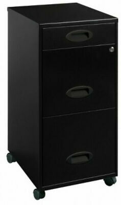 Lorell 3 Drawers Metal Vertical Lockable Office Filing Cabinet Black