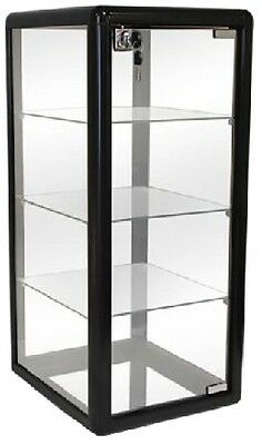GLASS COUNTERTOP DISPLAY CASE BLACK SHOWCASE KEY LOCK (3) SHELF