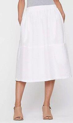 1X NWT Eileen Fisher White Organic Handkerchief Linen C/L. Oval Skirt