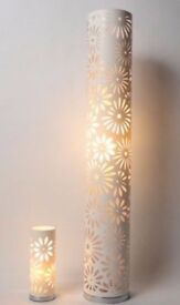 Floral Laser Cut Floor and Table Lamp Set