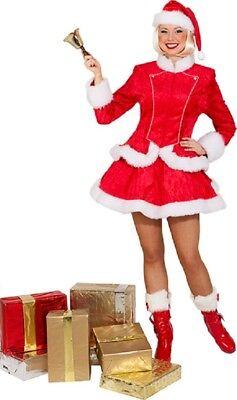 Damen Miss Santa Weihnachten Rot Weiß Festlich Kostüm Kleid - Weiß Santa Kostüm