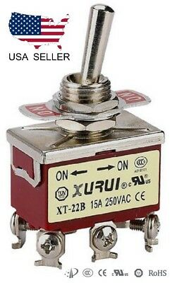 Heavy Duty Dpdt On-on Toggle Switch 20a 125v 15a 250v Screw Terminals 22b