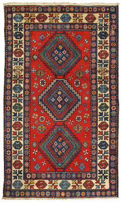 Pasargad Vintage Kazak Collection Hand-Knotted Lamb's Wool Rug- 4' 4