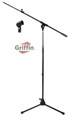 Telescoping Microphone Boom Stand Mic Stage Studio Holder Clip Tripod Instrument