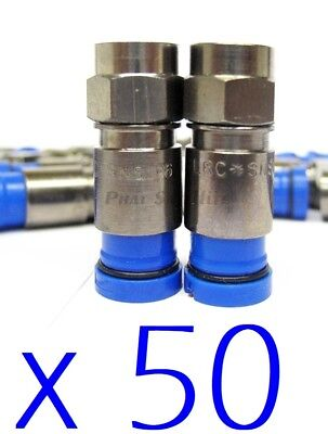 50 x Belden RG6 Coax Cable Compression Connector Fittings Blue CATV CCTV SATV HD