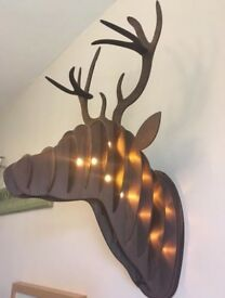 3D Light Up Wooden Stag Head