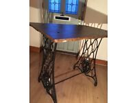 Vintage Upcycled Stone Top Metal Cast Iron Singer Sewing Machine Base Table