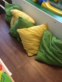 5 Yellow and green cushions pillow