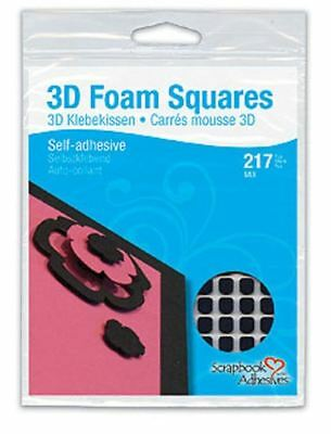 Scrapbook Adhesives ~ 3D FOAM SQUARES ~ BLACK ~ 217count, Variety Pack ~ 01615