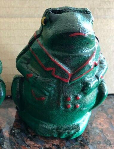 Vtg 1905-12 A.C. Williams Mfg. Co. Cast Iron Professor Pug Frog Still Coin Bank