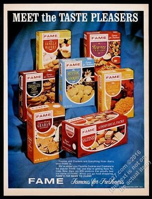 1967 Fame butter chocolate chip cookies graham crackers vintage print ad