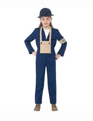 Girls Horrible Histories Air Warden WW11 1940s Fancy Dress Costume age 7-9 Med