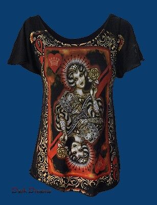 Gothic Steampunk Tattoo Shirt Top Bluse Queen of Hearts Herzdame 36 38 M