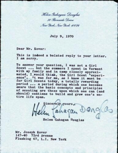 California Representative HELEN GAHAGAN DOUGLAS Signed Letter