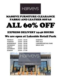 HARVEYS Furniture Fabric and Leather Sofas, 60% OFF 24-48hr delivery