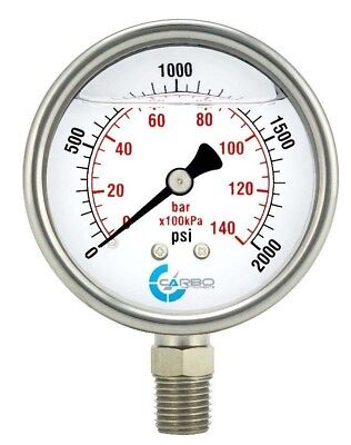 2-12 Pressure Gauge Stainless Steel Case Liquid Filled Lower Mnt 2000 Psi